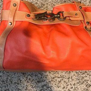 Orange leather hobo bag